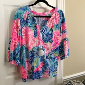 Lily Pulitzer colorful flared sleeve blouse -M